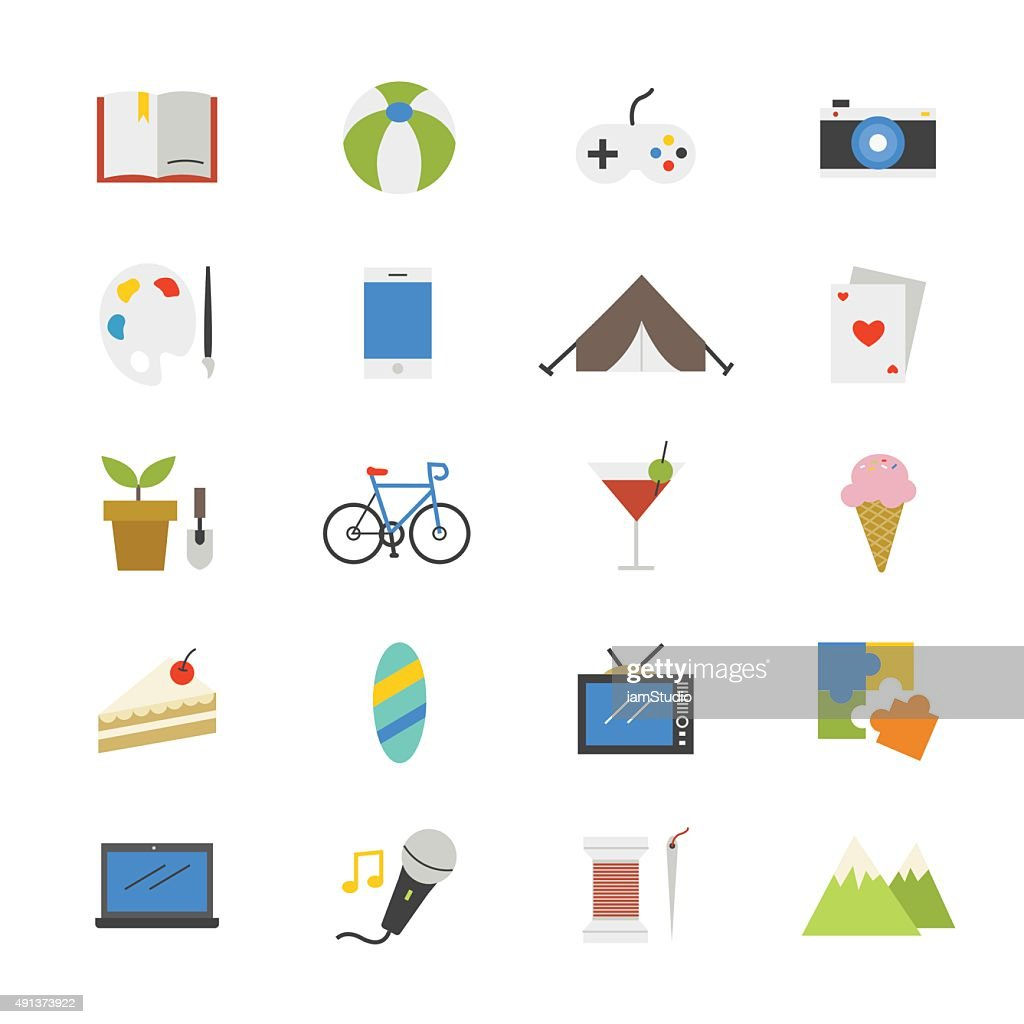 Hobbies and Activities Flat Icons color