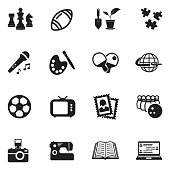 Hobbies Icons. Black Flat Design. Vector Illustration.