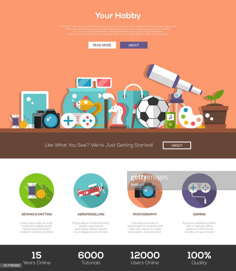 Hobbies website template with header and icons