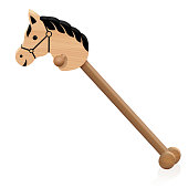 Hobby horse. Childs wooden riding toy animal- isolated vector illustration on white background.