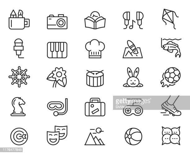 hobby icon set - hobbies stock illustrations