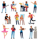 Hobby persons. People of creative professions at work. Artistic occupations, retro hobbies cartoon characters vector set