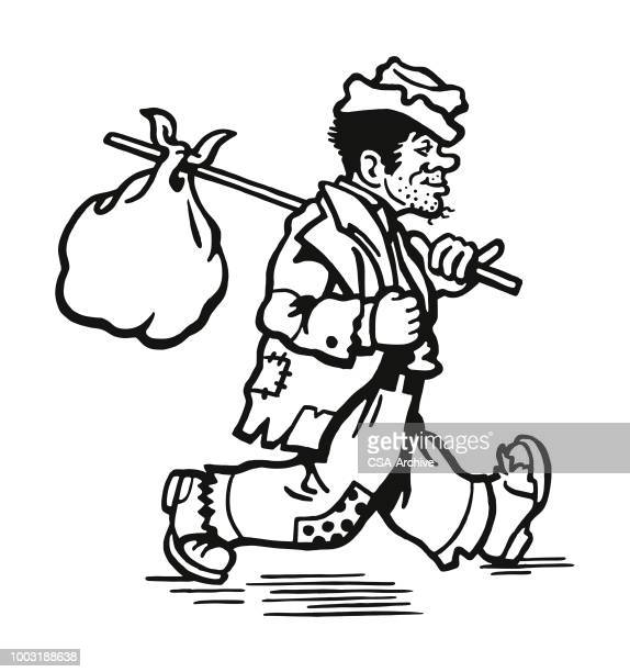 hobo with a knapsack - vagabond stock illustrations, clip art, cartoons, & icons
