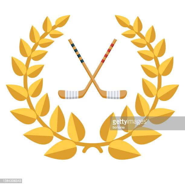 hockey award icon on transparent background - winter sports event stock illustrations