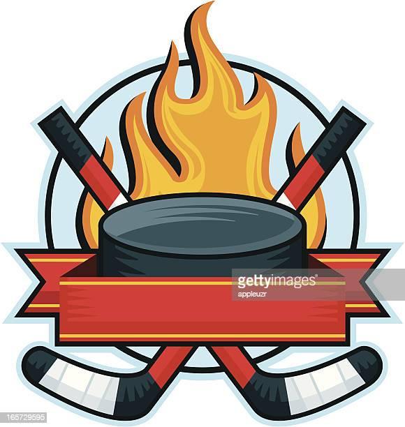 hockey banner - puck stock illustrations