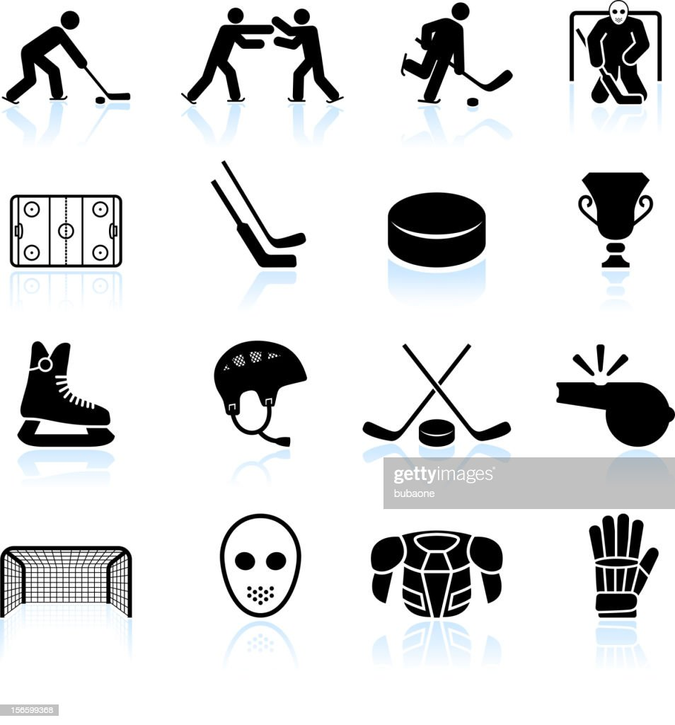 hockey black and white royalty free vector icon set : stock illustration