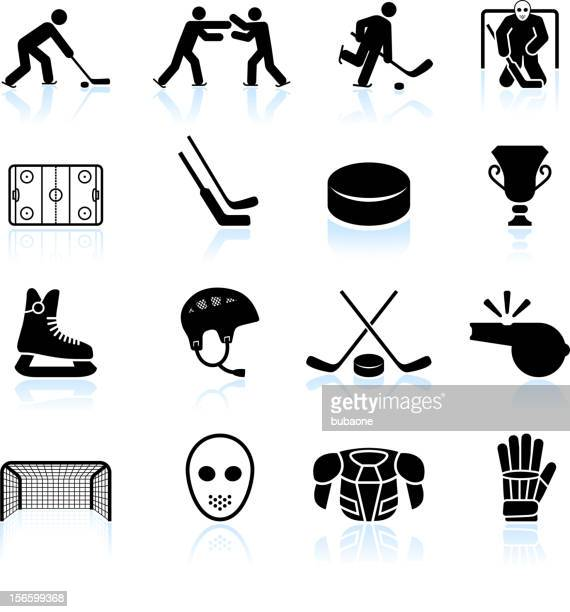 hockey black and white royalty free vector icon set - hockey stock illustrations, clip art, cartoons, & icons