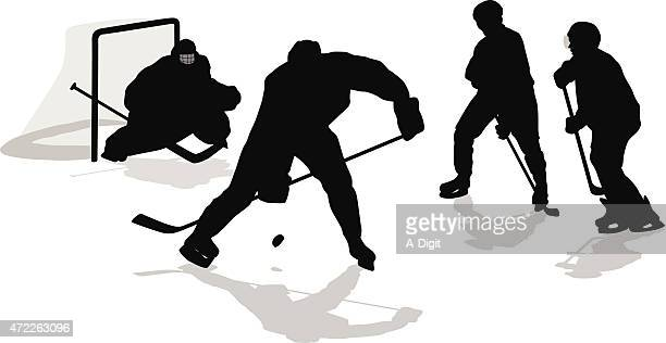 hockey defense - ice hockey player stock illustrations