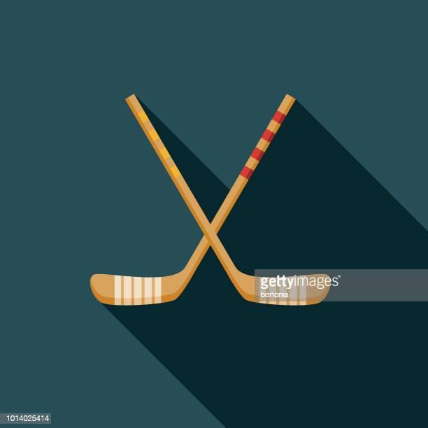 hockey flat design russia icon - hockey stick stock illustrations