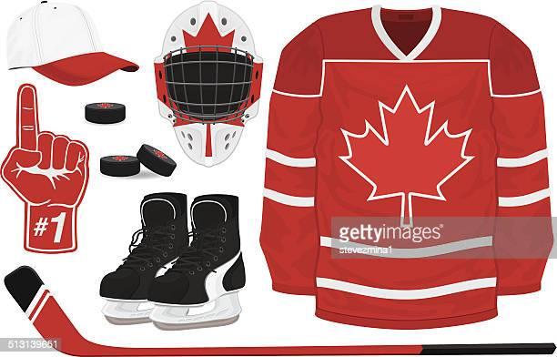 hockey gear - hockey stick stock illustrations