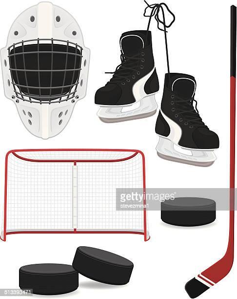 hockey gear - puck stock illustrations