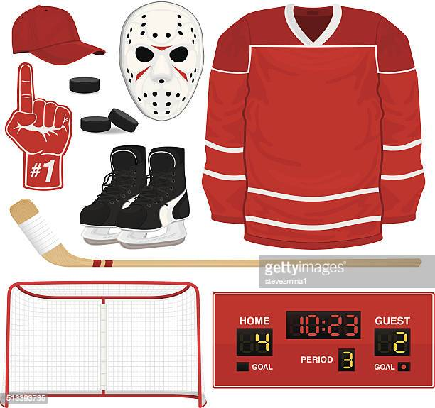 hockey gear - ice hockey uniform stock illustrations
