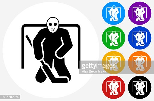Hockey Goalie Icon On Flat Color Circle Buttons Stock Illustration