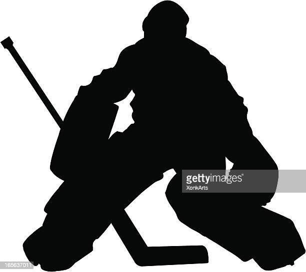 hockey goalie slhouette - hockey stock illustrations, clip art, cartoons, & icons