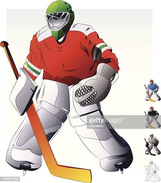 hockey goalie. - ice hockey uniform stock illustrations