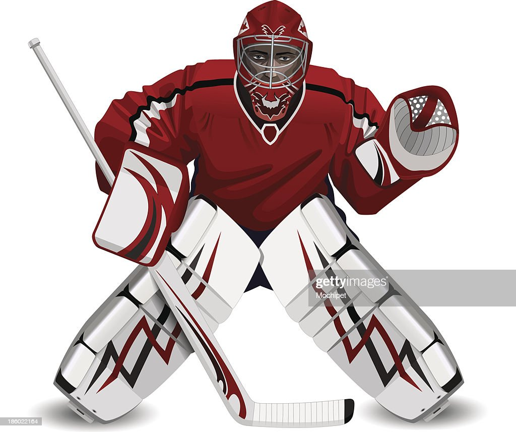 hockey goalie with a stick