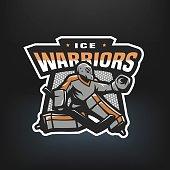 Hockey goalkeeper emblem.