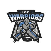 Hockey goalkeeper, emblem.