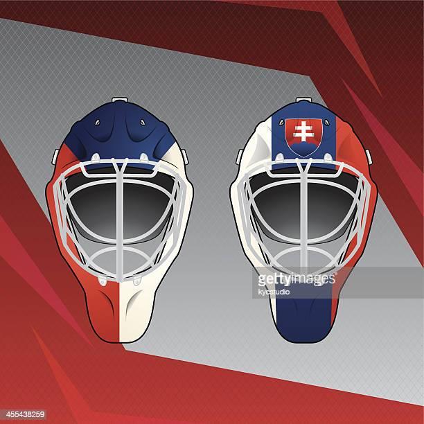 hockey helmets emblem - ice hockey uniform stock illustrations