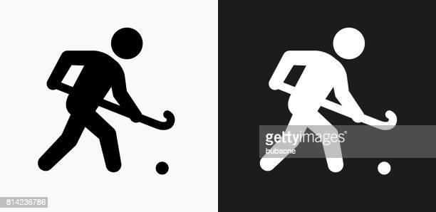 ilustraciones, imágenes clip art, dibujos animados e iconos de stock de hockey sobre icono en blanco y negro vector fondos - hockey sobre hierba