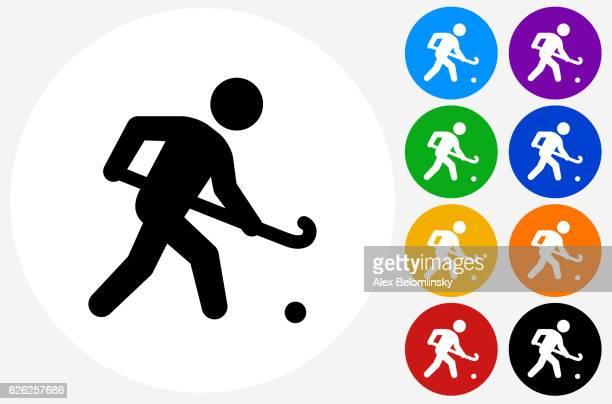 ilustraciones, imágenes clip art, dibujos animados e iconos de stock de hockey icon on flat color circle buttons - hockey sobre hierba