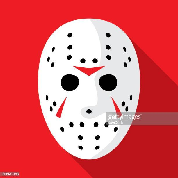 illustrazioni stock, clip art, cartoni animati e icone di tendenza di hockey mask icon flat - hockey