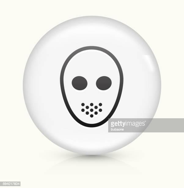 Hockey Mask icon on white round vector button