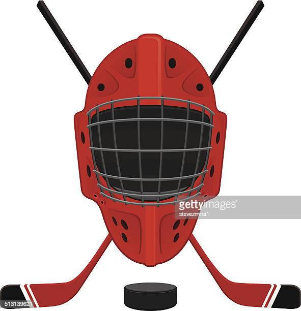 hockey mask, puck and sticks - ice hockey player stock illustrations
