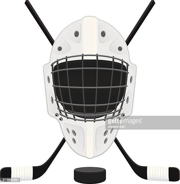 hockey mask, puck and sticks - ice hockey uniform stock illustrations