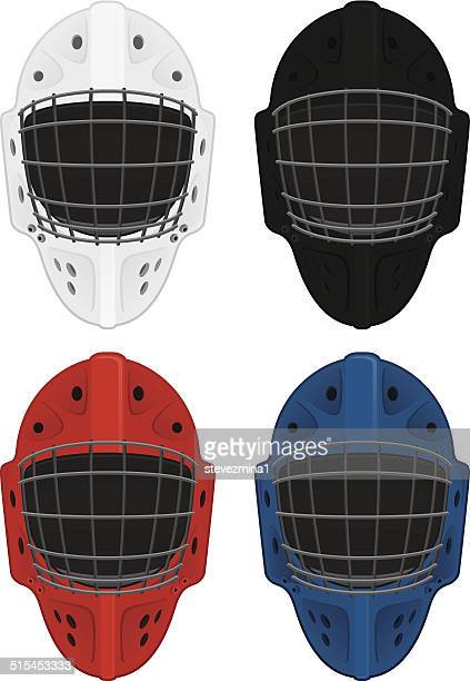 hockey masks - ice hockey uniform stock illustrations