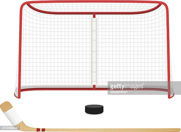 hockey net - stick plant part stock illustrations