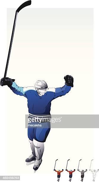 hockey player celebrating. - ice hockey uniform stock illustrations