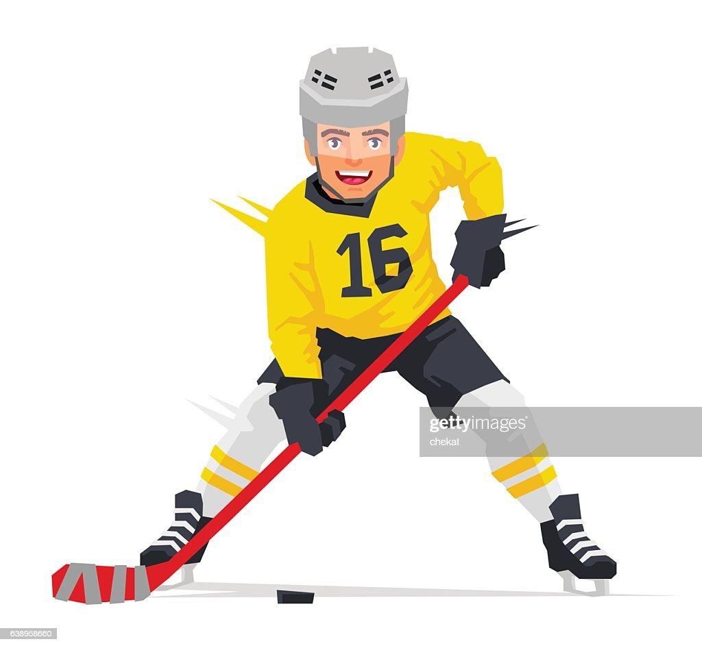 Hockey player in yellow uniform