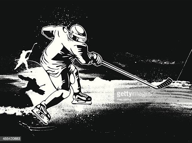 hockey player skating on ice with stick b&w vector image - hockey stock illustrations, clip art, cartoons, & icons