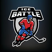 Hockey player symbol, emblem.