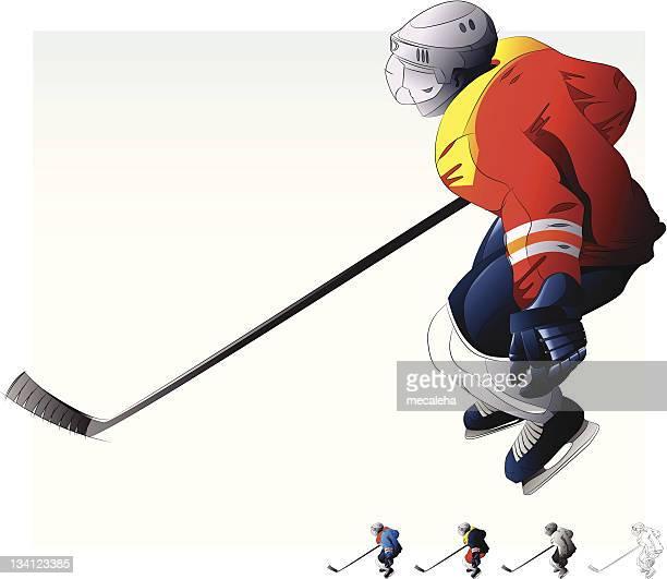 illustrazioni stock, clip art, cartoni animati e icone di tendenza di hockey. - difensore hockey su ghiaccio