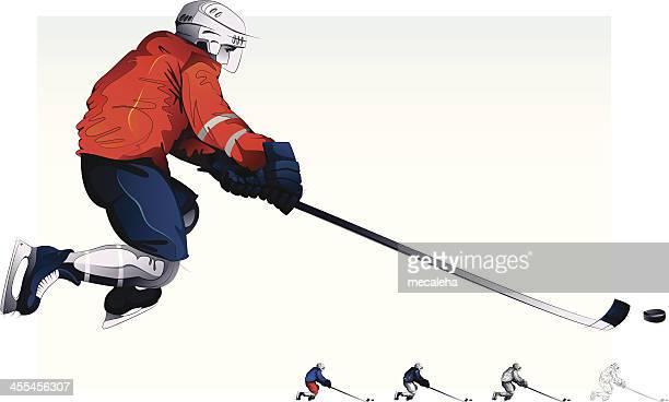 hockey player - ice hockey stick stock illustrations