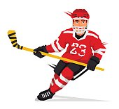 Hockey player with a stick