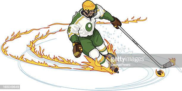 Hockey Player with Flame Trail