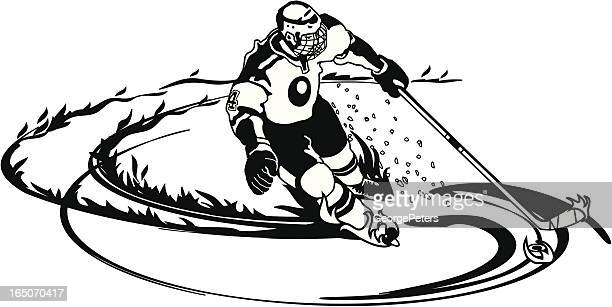 hockey player with flame trail - ice hockey stick stock illustrations