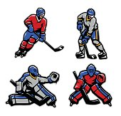 Hockey players and goalkeepers set.