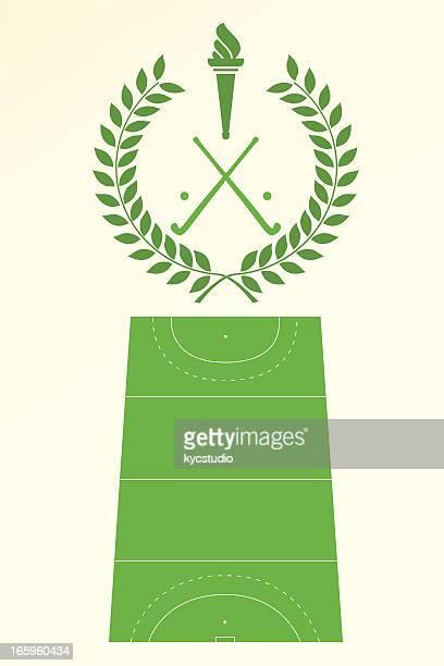ilustraciones, imágenes clip art, dibujos animados e iconos de stock de póster y escudo de hockey - hockey sobre hierba