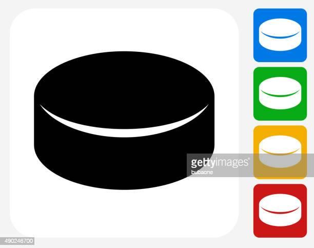 ilustraciones, imágenes clip art, dibujos animados e iconos de stock de disco de iconos planos de diseño gráfico - disco de hockey