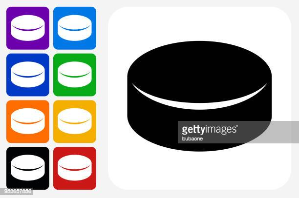 hockey puck icon square button set - puck stock illustrations