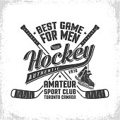 Hockey retro emblem for team or sport club