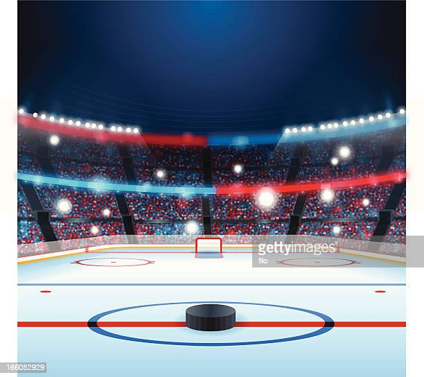 illustrazioni stock, clip art, cartoni animati e icone di tendenza di pista di hockey su - hockey
