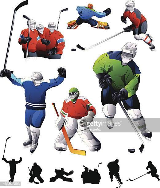 hockey set - ice hockey player stock illustrations