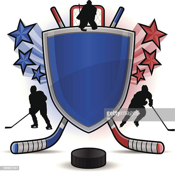 hockey shield - ice hockey stick stock illustrations