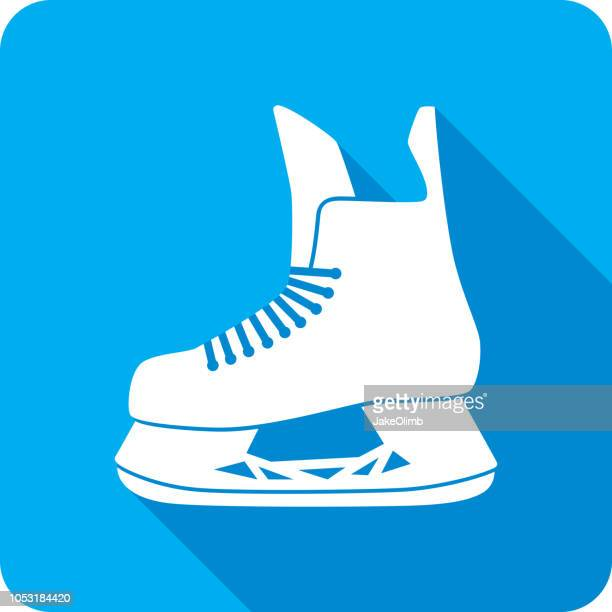 hockey skate icon silhouette - ice skating stock illustrations, clip art, cartoons, & icons