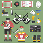 Hockey sport icons equipment and player design vector illustration